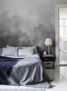 Bedroom Decor : Grey Painted Wall And Purple Bed Linen