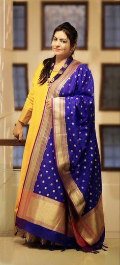 Paithani like dupatta is adding festive aspect to dress