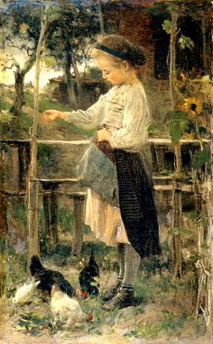 Feeding the Chickens by Jacob Henricus Maris (1837 – 1899)