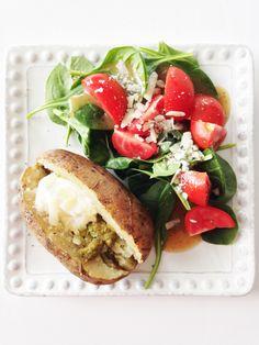 Crock pot baked potatoes with pesto and parmesan