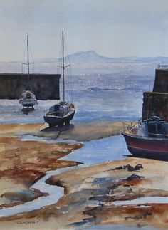 Watercolour of Dysart Harbour in Fife, Scotland. Not far from my home.