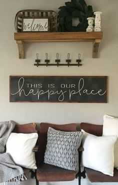 This is Our Happy Place Sign - Entryway Decor - Living Room Sign- Mantle Decor - Large Wood Sign- Distressed Sign - Long Wood Sign - Gift idea, Farmhouse sign, Farmhouse decor, Welcome sign, Rustic sign, Rustic decor, Home decor #ad