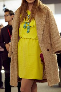 yellow, turquoise, camel + a dash of dark red