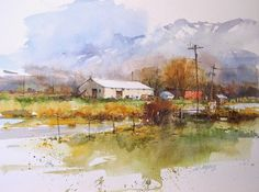 "Ian Ramsay Watercolors Farm Buildings, Idaho 11 1/2"" x 15 1/2"" image watercolor"