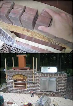 Building Fireplace Entrance Arch | How To Build An Outdoor Fireplace | Homesteading DIY Skills