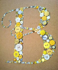 Custom Button Art - Letter B http://www.etsy.com/listing/155317169/9x12-button-art-custom-monogram-great?ref=shop_home_active   #yellow #button