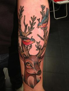 dane mancini inkamatic deer bird traditional tattoo trieste by elisa.jolie, via Flickr