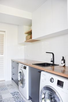Everyday we feel very fortunate to work with wonderful clients on their amazing custom timber projects, like this… Utility Room Sinks, Small Utility Room, Laundry Room Sink, Laundry Tubs, Timber Benchtop, Modern Scandinavian Interior, Timber Kitchen, Small Sink, Sink Design
