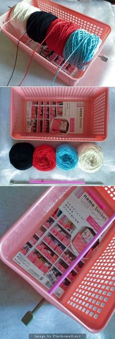 """Tutorial - """"Organize the yarn you're using in a project with this simple DIY. You need: 1 plastic basket with holes, 1 knitting needle, 1 drinking straw, and your yarn wound as in the picture. Loom Knitting, Knitting Stitches, Knitting Needles, Knitting Patterns, Crochet Patterns, Sewing Patterns, Knit Or Crochet, Crochet Crafts, Yarn Crafts"""