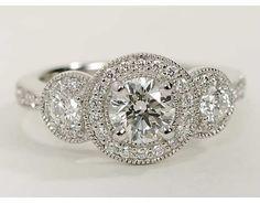 Three Stone Milgrain Halo Engagement Ring in 14k White Gold | Blue Nile