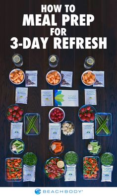 All it takes is three days to rev your metabolism and jumpstart a clean eating lifestyle. Try this 3-Day Refresh meal prep to get started! // nutrition // clean eating // weight loss // healthy eating // breakfasts // lunches // dinners // meal prep plan // meal planning // meal prep monday // Beachbody // BeachbodyBlog.com Meal Prep Plans, Easy Meal Prep, Healthy Meal Prep, Easy Meals, Healthy Eating, Healthy Nutrition, Nutrition Drinks, Nutrition Education, Nutrition Plans