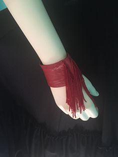 80's A/X  Armani Exchange red leather wrist bracelet with red bead fringe   22.00 by LindaLousFunkyFinds on Etsy