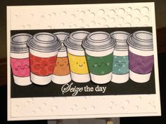 Coffee Card - Just Because Card - Stamps:  Simon Says Stamp Coffee and Tea, Clearly Gina K. Stately Flowers 2 - Spellbinders Cascading Dots Die - Inks:  Memento Tuxedo Black, Versamark - Hero Arts White Embossing Powder - Copics:  C00, C1, C2, C4 - Cardstock:  Momenta Paper Pack, The Paper Studio Heavy Weight Black - Simon Says Stamp February 2017 Card Kit - Inspiration:  http://www.handmadebyheatherruwe.com/2017/01/repeating-stamped-images.html