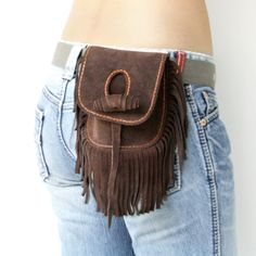 Hand Stitched Fringe Suede Hip Bag in Dark Brown by TheLeatherTH, $60.00