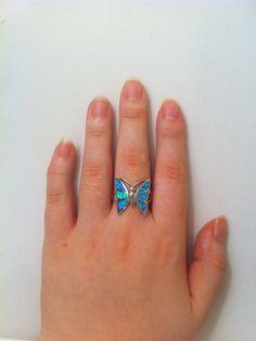 Butterfly Blue Opal Ring in Sterling Silver  Australian by Genui, $55.00