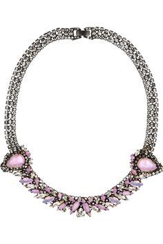 Erickson Beamon | Young and Innocent oxidized gunmetal-tone Swarovski crystal necklace | NET-A-PORTER.COM
