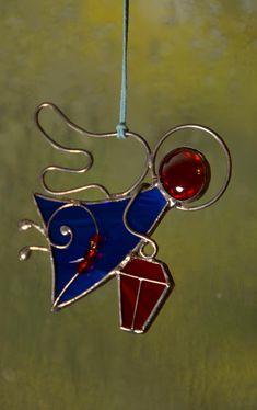 Stained glass angel ornament, wire ornament, Christmas angel, angel suncatcher, Baptism angel, Tiffany, glass angel, pendant, angel gift