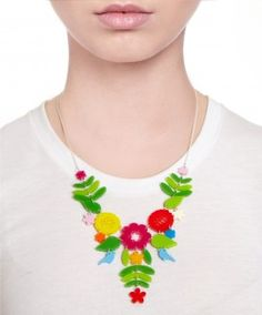 Mexican Embroidery Necklace - Multi
