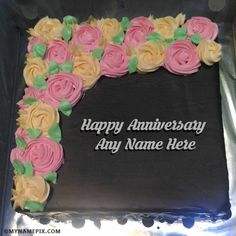 Write name on Happy Wedding Anniversary Cakes With Name picture in beautiful style. Best app to write names on beautiful collection of Anniversary Cakes pix. Happy Anniversary Mom Dad, Anniversary Cake With Name, Birthday Card With Name, Happy Anniversary Cakes, Wedding Anniversary Cakes, It's Your Birthday, Birthday Wishes, Birthday Cards, Latest Cake Design