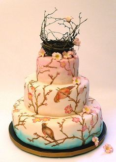 Handpainted bird cake
