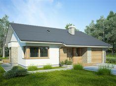 Projekt domu parterowego Lukrecja II o pow. 96,3 m2 z garażem 1-st., z dachem dwuspadowym, z tarasem, z wykuszem, sprawdź! Modern Bungalow, Small House Design, Home Design Plans, Facade House, Smart Home, Shed, Outdoor Structures, Architecture, Outdoor Decor