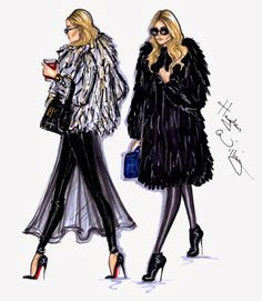 #Hayden Williams Fashion Illustrations #Style On The Go: Mary-Kate & Ashley by Hayden Williams