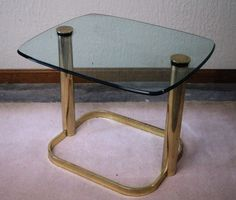 SOLD. Pace Collection Brass & Glass Side Table by JulesModerne on Etsy