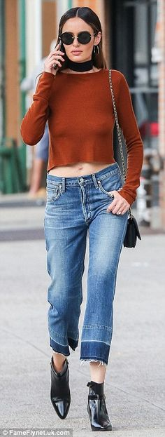 Quick change: Nicole Trunfio sported two different outfits while out in New York on Friday