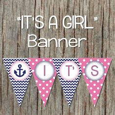 Nautical Anchor It's A Girl Baby Shower Banner in Pink and Navy Blue by BumpAndBeyondDesigns, $6.00
