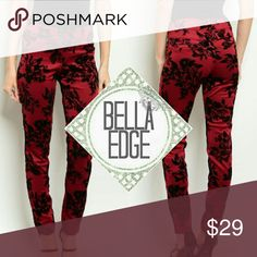 Red black floral skinny pants 💎90% POLYESTER, 10% SPANDEX 💎These classy skinny leg pants can be worn a variety of ways; pair with a blazer for work for a chic look, your favorite black top for a dinner date or however you want. These dark wine red pants feature black floral print throughout, double button and zipper closure.  💎Sizes small (2-4) and medium (6-8) Bella Edge Boutique Pants Skinny