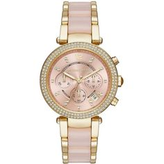 Michael Kors Parker Pave and Acetate Watch, MK6326 ($221) ❤ liked on Polyvore featuring jewelry, watches, pink, michael kors jewelry, pink dial watches, pave watches, rose jewellery and bezel watches