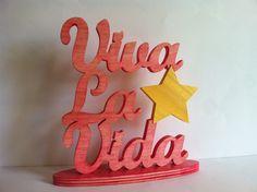"""Letras de madera """"viva la vida"""" personalizado de Planetasierra por DaWanda.com"""