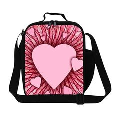 New Pink Heart Print Lancheira Kids Lunch Bags Insulated Lunch Box For School