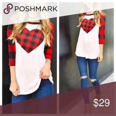 Valentine's 3/4 sleeve top Top. Plaid long sleeve top. Fits true to size. S 2/4, M 6/8 L 10/12 Tops Tees - Long Sleeve