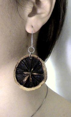 Handmade lemon earrings