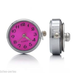 JP 5PC Quartz Watch Face Silver Tone Snap Button DIY Fuchsia 24mm x21.5mm x12mm