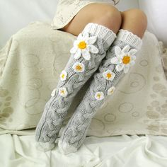 Grey socks with Сamomile. Handmade Knee high Socks Woo… Grey socks with Сamomile. Knitting Socks, Hand Knitting, Knit Socks, Crochet Gifts, Knit Crochet, Crochet Stitch, Womens Wool Socks, Grey Socks, Winter Socks
