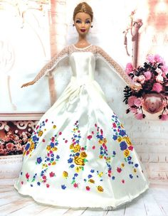 NK One Set Princess Doll Dress Similar Fairy Tale Cinderella Wedding Dress +Veil Party Outfit For Barbie Doll Best Girls' Gift