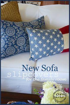 Slipcovers makeover a sofa