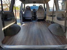 Vinyl floor and trim complete in 95 delica l400 camper conversion.