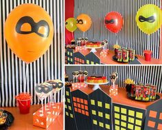 Resultado de imagen para the incredibles party ideas 6th Birthday Parties, Baby Birthday, Birthday Bash, Birthday Party Decorations, Birthday Ideas, Disney Party Games, Incredibles Birthday Party, Christmas Party Games, Party Time