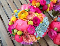 coral wedding flowers bristol colour clash
