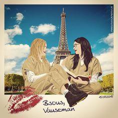 Paris et Vauseman ... c'est magnifique! ❤️ #Vauseman #AlexVause #PiperChapman #LauraPrepon #TaylorSchilling #OITNB #OrangeIsTheNewBlack #Netflix #Paris #vector #art #illustration #fanart