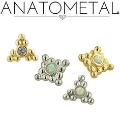 Threaded Sabrina Ends in solid 18k yellow and white gold: synthetic Tanzanite…