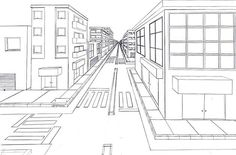 This is a good example of how to draw a road in perspective, with basic rectangular blocks modified to create a city scene.