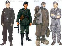 World War II Uniforms - Germany - 1941 July, Western USSR, Lance-Corporal, Panzer Lehr Regiment Germany - 1941 Germany - 1943 Feb., Stalingrad, Private, 389th Inf. Division Germany - 1944 Aug., Western USSR, Major, Stukageschwader 2