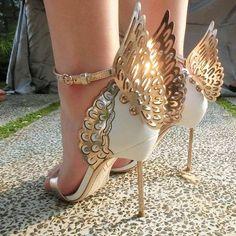 SOPHIA WEBSTER Evangeline Metallic and Patent-leather Sandals ...