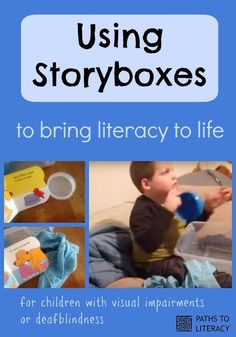 Guidelines to use storyboxes to bring literacy to life for children who are blind, deafblind or visually impaired. Emergent Literacy, Literacy And Numeracy, Visual Literacy, Education And Literacy, Preschool Special Education, Literacy Activities, Preschool Literacy, Visually Impaired Activities, Tactile Activities