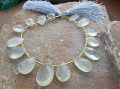 At Factory Price , Full strand white ceylon moonstone gemstone Faceted pear Briolette beads, 100% Natural, (ITEM ID:-3786) by JaiVyavsayBeads on Etsy