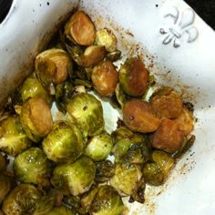 Mm one of my favorite side dishes. Fresh garlic and brussel sprouts roasted with olive oil, sea salt, and balsamic vinegar.